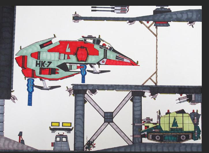 Wong - Aircraft Hanger Bay 58 W071 permanent marker on bristol paper 18 x 24 inches