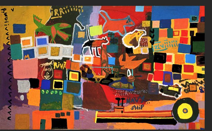 Gant - Bad Kitty 1997 acrylic on canvas 60 x 101 inches