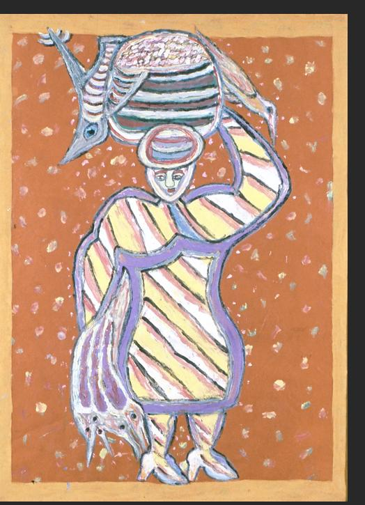 Romain - Bird Seller 1998 mixed media on paper 24 x 18 inches