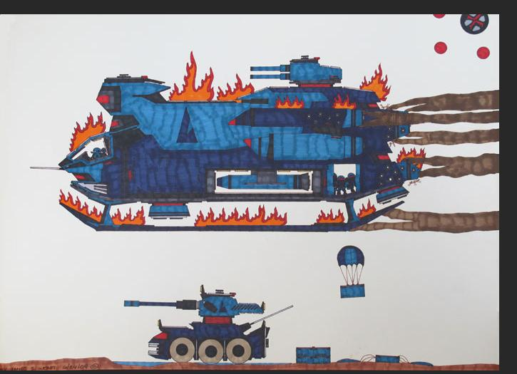 Wong - Ejected from a burning space ship W074 permanent marker on bristol paper 18 x 24 inches