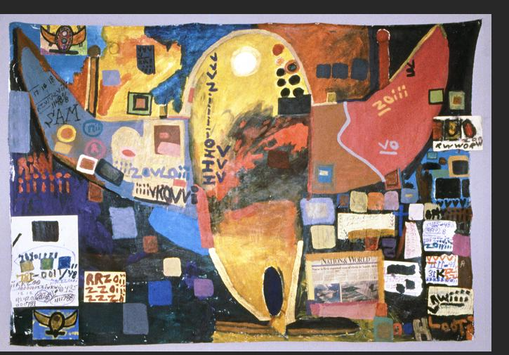Gant - Flight Series Ebola Viris 1990s acrylic, mixed media on canvas 59 x 86 inches