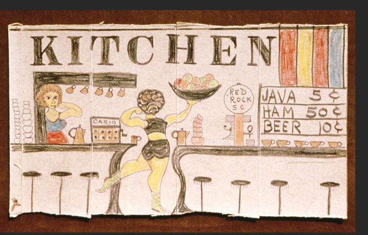 Smith - KITCHEN 1983 crayon, ink, pencil on Saltine cracker box 10 x 17 inches