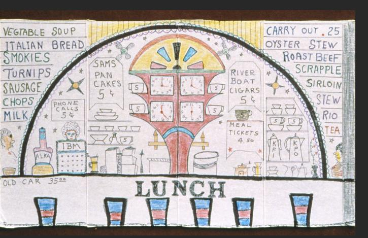 Smith -  LUNCH 1983 ink, pencil, crayon on Saltine cracker box 10 x 17 inches