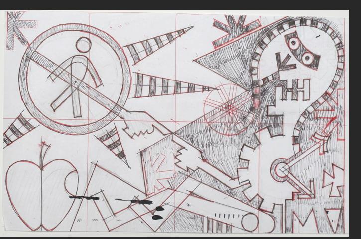 Dominguez - Overmachine (drawing) ink, pencil on paper 8.5 x 19 inches
