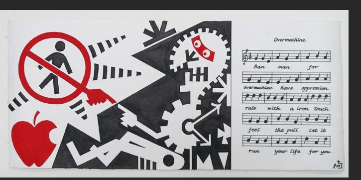 Dominguez - Overmachine click on picture to see expanded image with music score. paint on canvas 8.5 x 19 inches