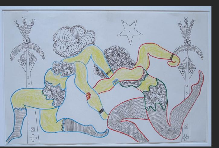 Smith - RUNNING LADIES ink, pencil, crayon on paper 11 x 17 inches