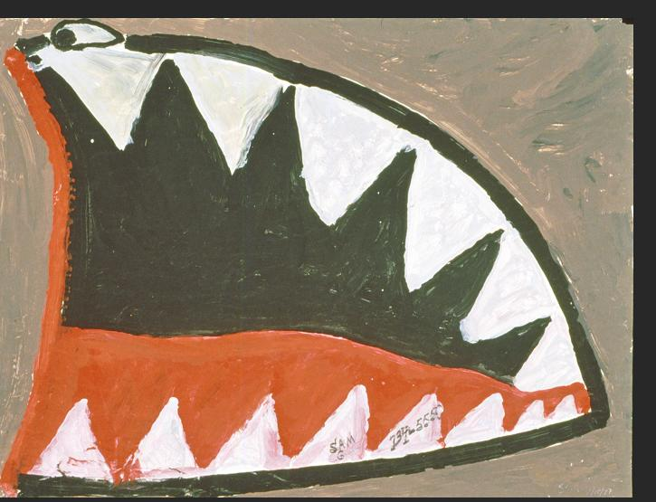 Gant -  Shark n.d. mixed media on paper 31 x 22 inches