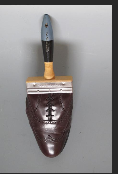 Howard Jones - Shoe Brush 2014 leather shoe, wood, metal