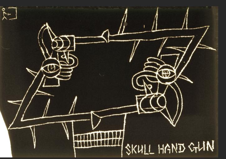 Dominguez - Skull Hand Gun 1995 bleach, cotton 18 x 30.50 inches