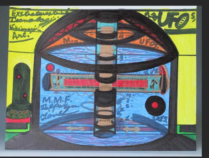 Talpazan - Spaceship engine Oil stick, markers, pen on paper 11 x 8.5 inch $1100.