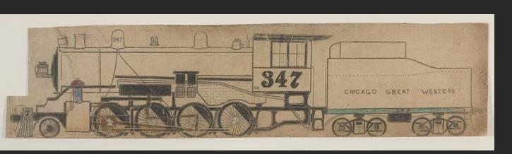 Smith -  Train No.347 8.75 x 11 in. Framed. ink on paper Sold