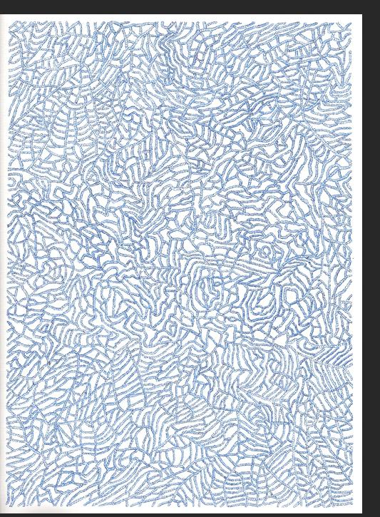 Benefiel - Unithematic Drawing no. 3 2008 blue ink on paper 12 x 9 inches