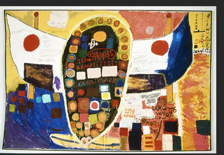 Gant -  Untitled (Large Space Ghost) 1990s mixed media on canvas 90 x 60 inches