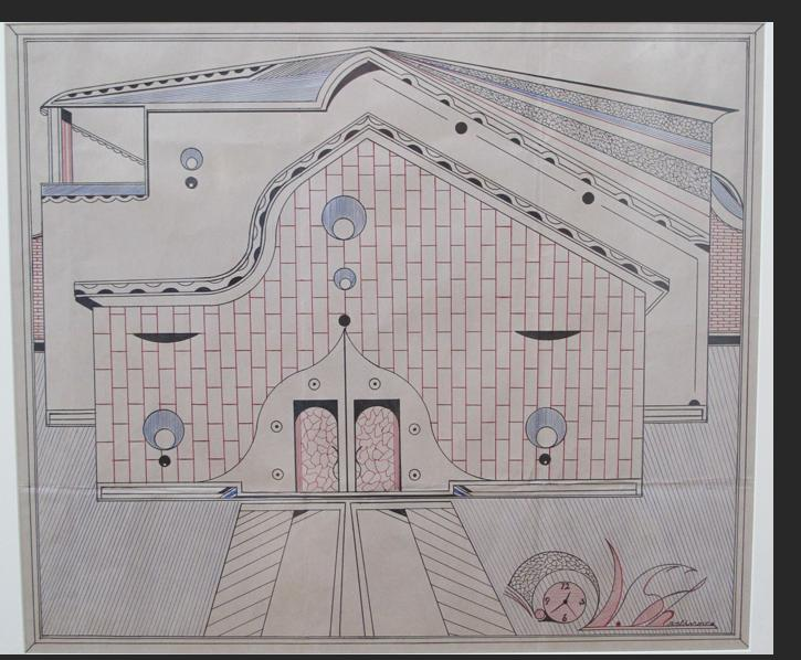 Sharlhorne - Untitled (house) pen, marker on paper 19 x 22.5 inches