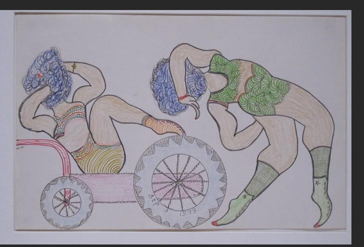 Smith -  WOMEN WITH CART 1979 ink, pencil, crayon on paper 11 x 17 inches Sold