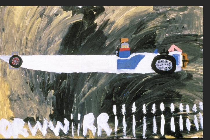 Gant - White Race Car 1990s acrylic on paper 26 x 40 inches