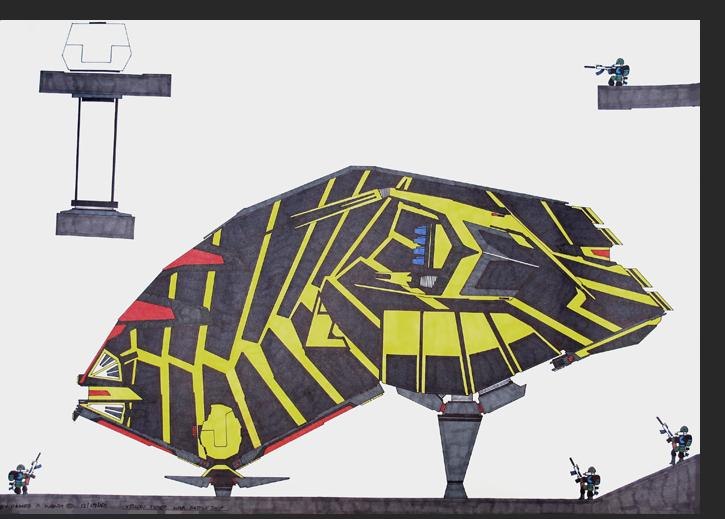 Wong - Yellow Tiger War Battle Ship W065 permanent marker on bristol paper 22 x 30 inches