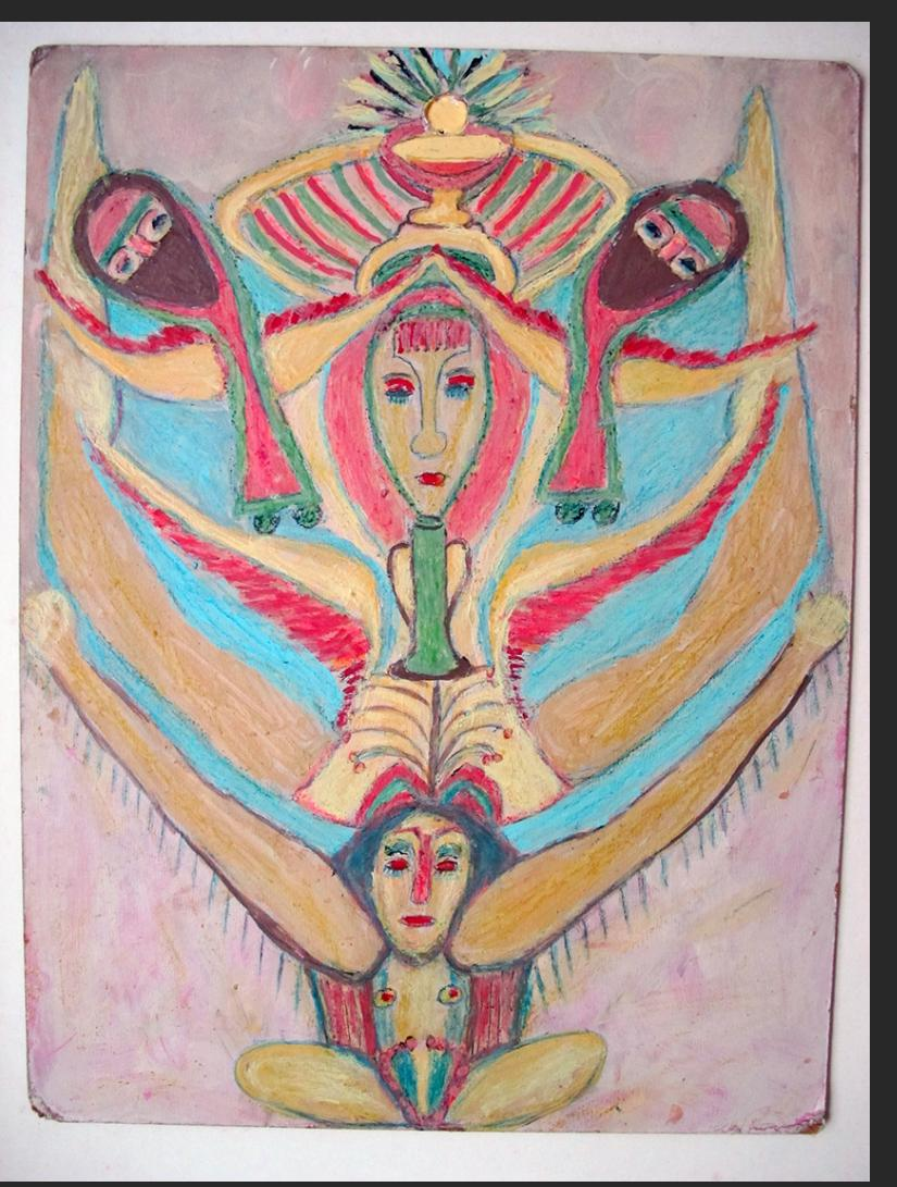 Angels, 1990s, paint on cardboard, 16 x 12 in. 41 x 30.5 cm  $1400.
