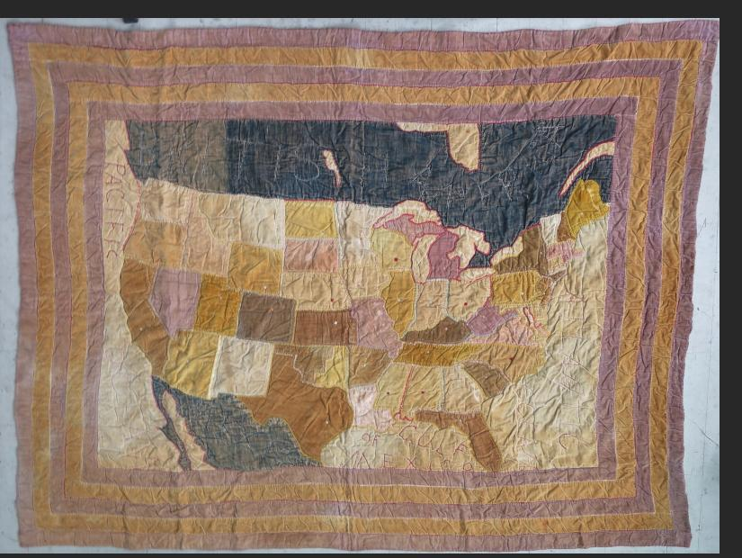 Map Quilt - pieced cloth, 1890s