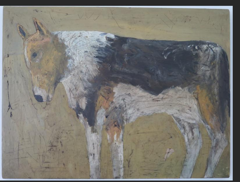 Terry Turrell,  Tri-Color Dog, oil on wood
