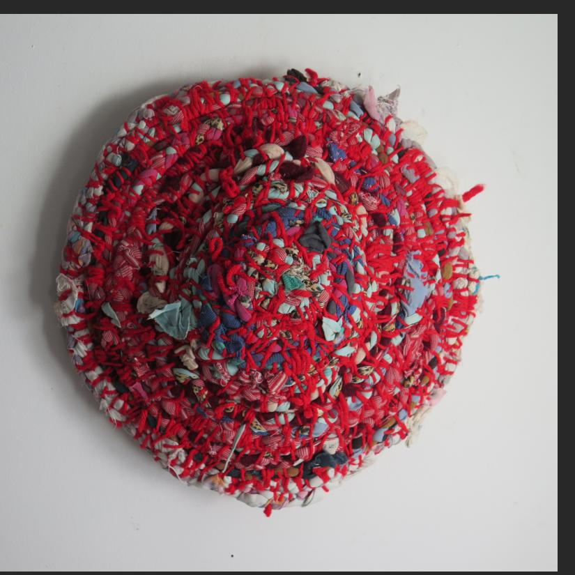 "Willie Eaglin, untitled, braided, yarn stitched mound, 14 x 15 x 3""  $700."