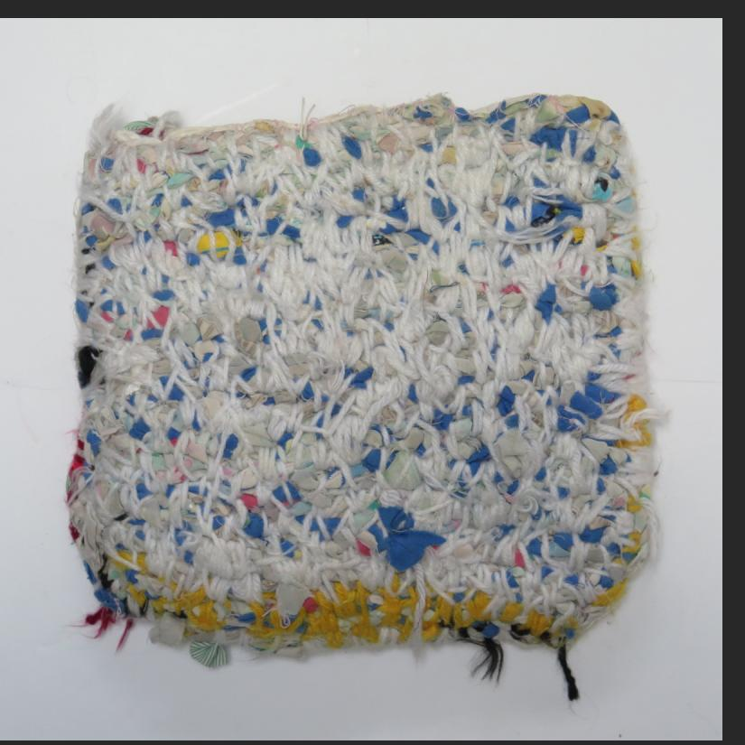 "Willie Eaglin, untitled, bag of braided cloth and yarn, 10 x 11""  $500"