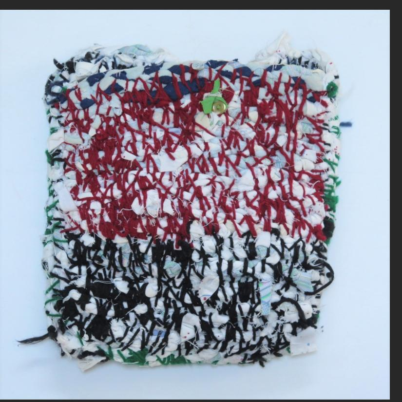 Willie Eaglin, untitled carry bag of braided cloth strips and yarn, $500
