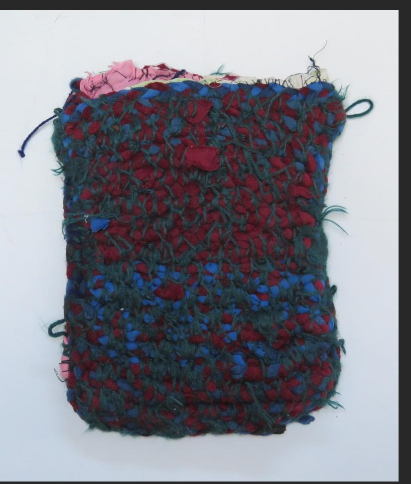Willie Eaglin, untitled bag, braided cloth and yarn, 13 x 9.5 in $500
