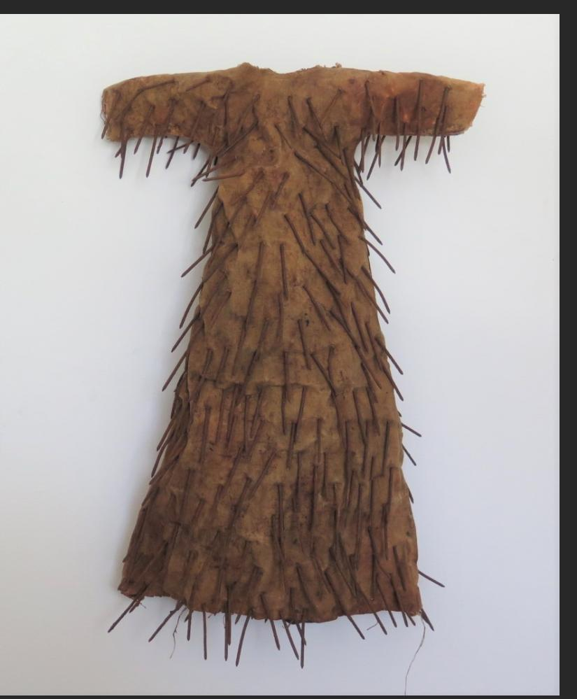 "Larry Calkins Nail Dress, cloth, earth pigments, beeswax, nails, ht 24"" $2500."